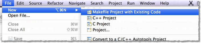Importing an existing Makefile project into Eclipse