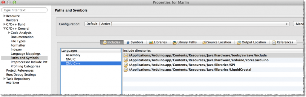 Setting up Include directories under the C/C++ General preferences