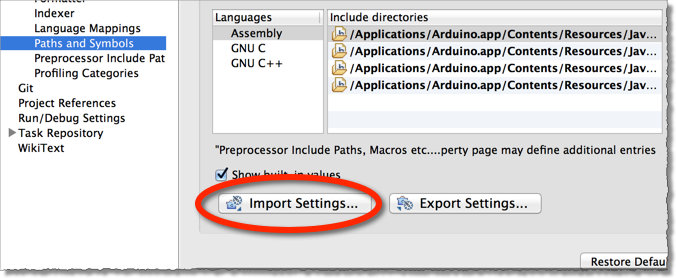 Importing settings into Eclipse